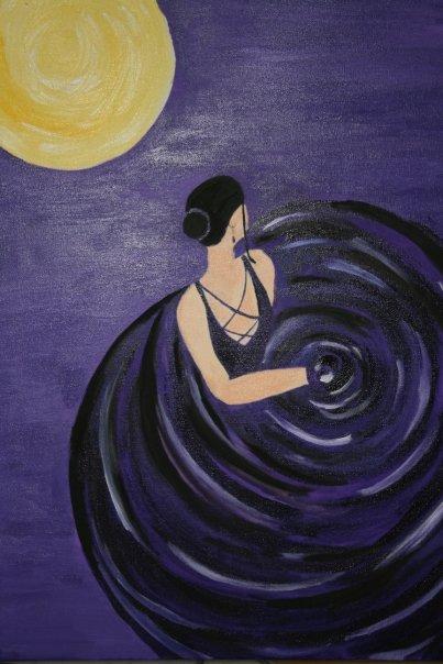 Flamenco in Purple - Acrylic on Canvas